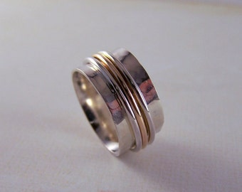 Gold Silver Spinner Ring Wide Band Ring Silver Handmade Fiddle Ring  Meditation Ring SR102