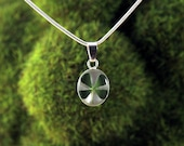 Real Four Leaf Clover Necklace Small Oval White Sterling Silver Pendant