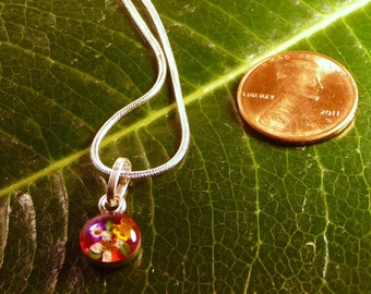 Sterling Silver Miniature Dried Flowers Round Red Pendant