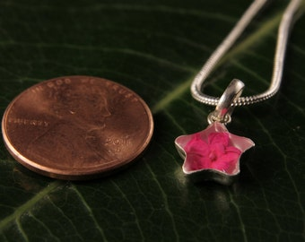 Sterling Silver Miniature Pressed Wild Pink Flower Star Shape Pendant