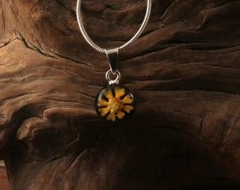 Sterling Silver Miniature Pressed Sunflower Round Black Pendant