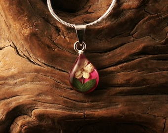 Sterling Silver Miniature Pressed Elder Wild Flower Tear Drop Pink Pendant