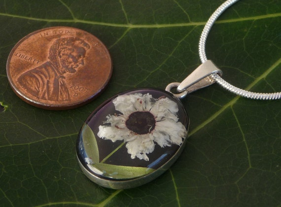 Sterling Silver Pressed Wild Flower Black Oval Pendant ( One of a Kind)