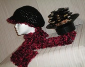 Red and Black Valentines Day Scarf and Hat Set