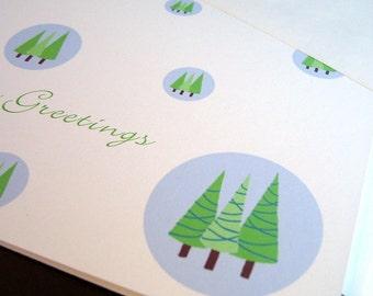 SALE Holiday Card Set // Circle Trees