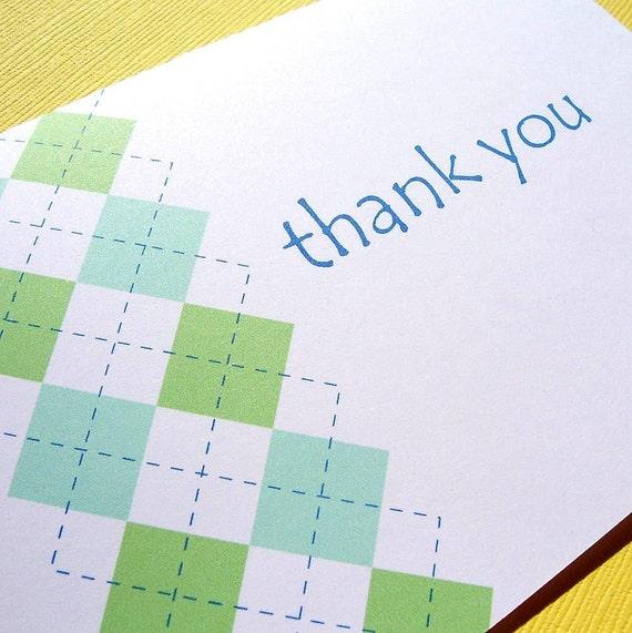 Thank You Cards - Argyle Print