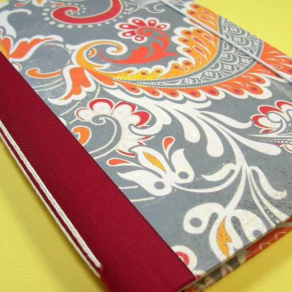 Handmade Lined Journal in Red Scrolls