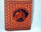 Tripplefold  Hand Tooled Leather Wallet featuring Horse Head Design
