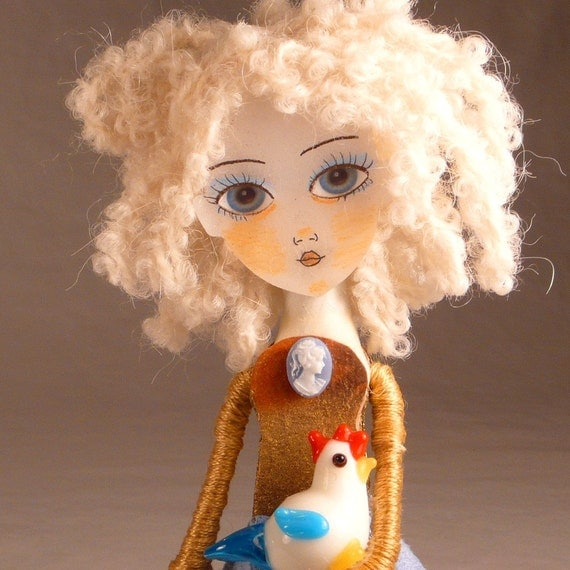 Clothespin Doll Art - The Sky is Falling Handmade Clothes Pin Art Doll