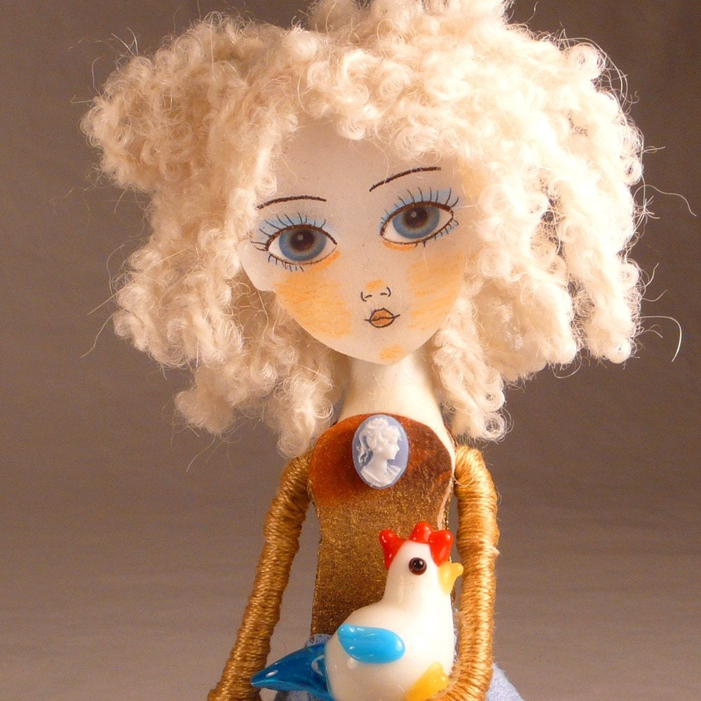 Clothespin Doll Art The Sky Is Falling Handmade Clothes Pin