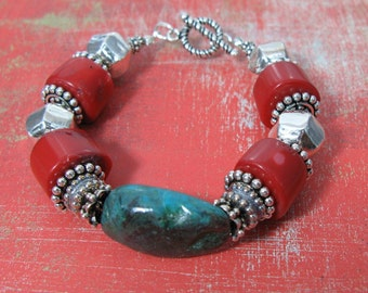 turquoise, red coral, and sterling southwest bracelet