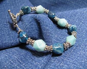 Chunky amazonite, teal apatite pebbles, sterling silver bracelet