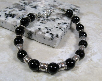 black onyx and sterling shimmer and gloss bracelet