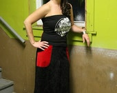 DARING IN DAMASK black and red super long skirt