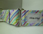 Warm Wags Pretty Diagonal Stripes and Flowers Martingale Collar