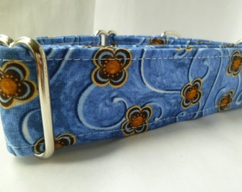 Warm Wags Swirling Flowers on Blue Large Greyhound Martingale Collar