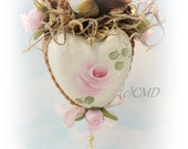 Chickadee Topped Vintage Heart Mold, Hand Painted, Created, Mixed Media, ECS, CSST