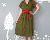 vintage 1950s OLIVE red military inspired wrap dress M
