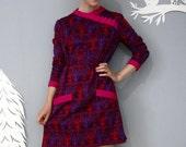 vintage 60's 70's PSYCHEDELIC violet dress M