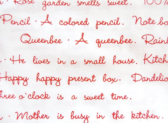 Restocked Kumiko Fujita Text Print Red on White Fat Quarter