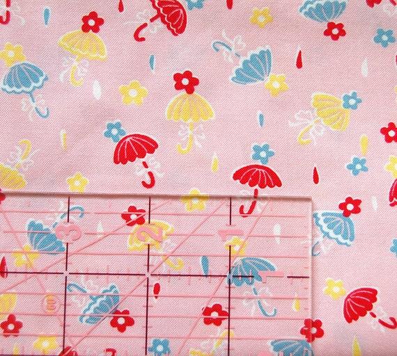 Little Umbrellas Print Pink Fat Quarter