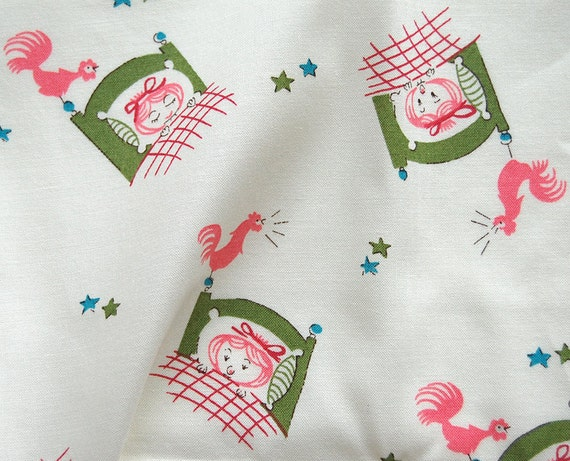LAST Rooster and Girl Print Green and Pink Fat Quarter