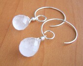 LAST PAIR Twinkle Rose - rose quartz swirl hoop earrings