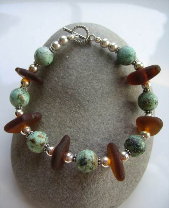 MERMAID TEARS OF AFRICA African Turquoise and Brown Sea Glass Sterling Silver Toggle Bracelet