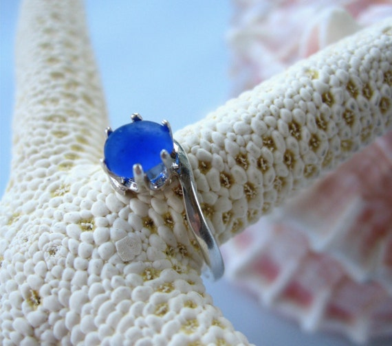 I'M NOT SINGING THE BLUES Cobalt Blue Sea Glass Sterling Silver 8mm Ring Size 7