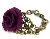 Bracelet - Dark eggplant Handmade Blooming Rose Bracelet