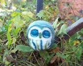 Needle Felted Blue Sleeping Saw Whet Owl