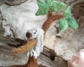 Needle Felted Sleepy Sloth in Tree Scene