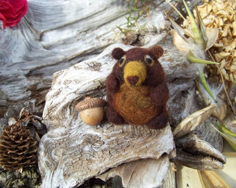 Needle Felted Pudgy Brown Bear