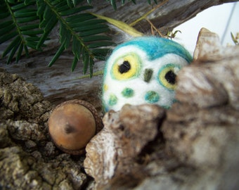 Needle Felted Blue and Green Caffeinated Saw Whet Owl