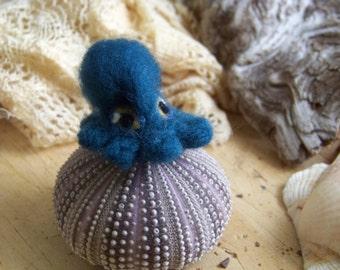 Needle Felted Blue Octopus