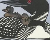 COMMON LOON and chicks original linocut hand colored bird block print
