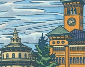 Tacoma's OLD CITY HALL original hand colored letterpress print featuring Mt. Rainier