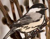 BLACK-CAPPED CHICKADEE hand colored linocut Christmas bird ornament