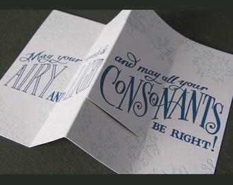 VOWELS AND CONSONANTS letterpress 3D pop-up card