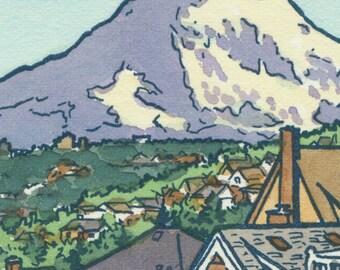 TACOMA BALCONY original hand colored letterpress print featuring Mt. Rainier