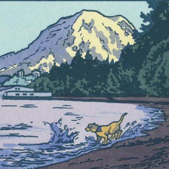 OWEN BEACH original hand colored letterpress print featuring Mt. Rainier