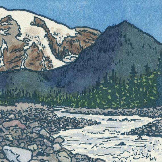 NISQUALLY RIVER RAPIDS original hand colored letterpress print featuring Mt. Rainier