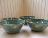 SALE - Robin Egg Blue Daisy Bowls - Set of 4