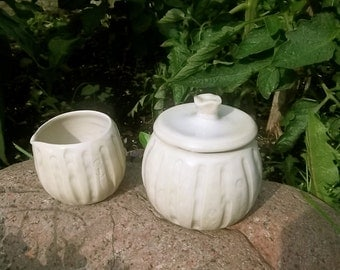 SALE - Cream and Sugar Set in Soft Translucent Cream