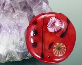 Reserved for Sharaya Lampwork Glass Round Cabochon, Red Black Pinwheels