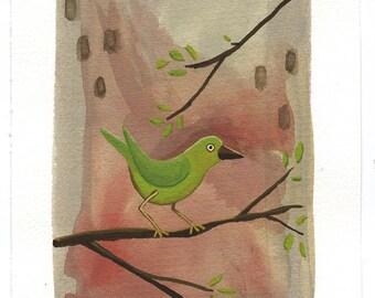 Green Bird Print