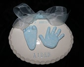 Glazed Ceramic Hand and Footprint 3D OUTPRINT plaque-mold kit and shipping included