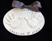 Antique Brown Double Sibling Hand OUTPrint  Plaque by Mail-Mold kit and shipping included