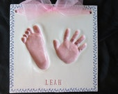 Extra Large Hand and Footprint OUTPRINT 3D Plaque with border-mold kit and shipping included
