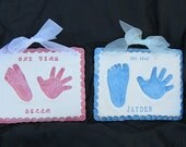 Two Hand and Footprint Ceramic Plaques with Prints By Mail Kit